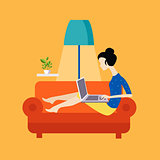 Girl On The Sofa Working Freelance