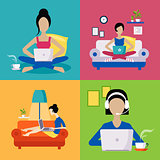 Women Working Freelance Illustration Set