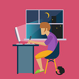 Guy In The Night At Home Working Freelance