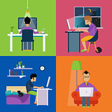 Men Working Freelance Illustration Set