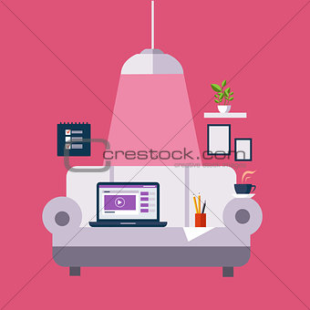 Freelance Office On The Sofa