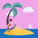 Girl On Small Island Working Freelance