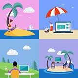 Distant Work On Holidays Illustration Set