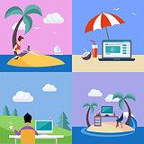 Distant Work On Holidays Illustration Set