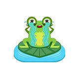 Tearful Cartoon Frog Character