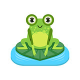 Smiling Cartoon Frog Character
