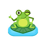 Approving Cartoon Frog Character