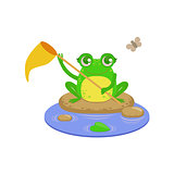 Cartoon Frog Character Catchin Flies