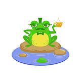 Gentelman Cartoon Frog Character