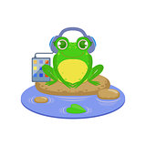 Cartoon Frog Character Listening the Music