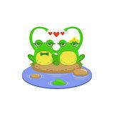 Cartoon Frog Character Couple