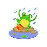 Cartoon Frog Character Playing Under Rain
