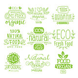 Organic Food Calligraphic Label Set