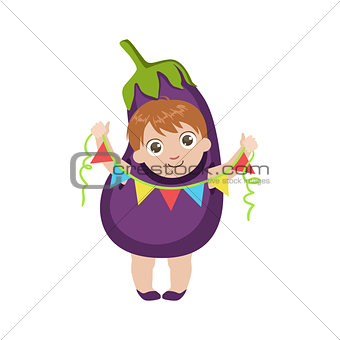 Boy Dressed As Eggplant