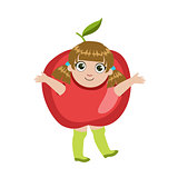 Girl Dressed As Apple