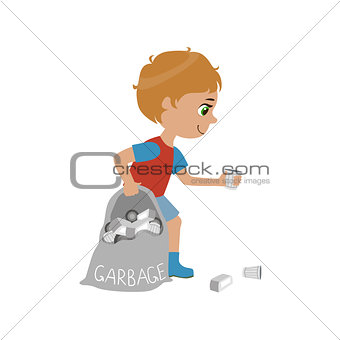 Boy Collecting Garbage