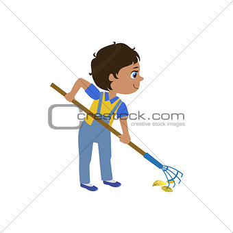 Boy Working With Rake