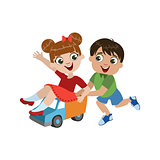 Kids Playing With Toy Truck