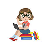 Girl In Glasses Reading