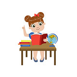 Girl Brhing The Desk Reading