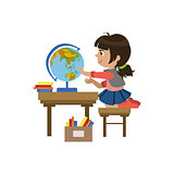 Little Girl Playing With Globe