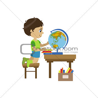 Little Boy Playing With Globe