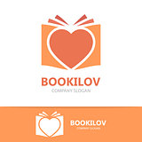 Vector heart and book logo