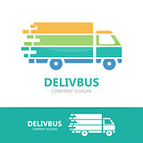 Truck logo vector design. Fast delivery symbol or icon