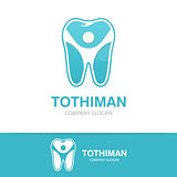 Vector logo combination of a tooth  and man