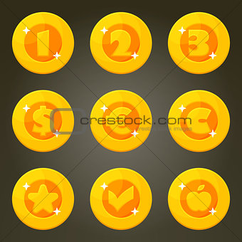 Gold Coin With Currency Emblems