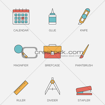 Office tools color line icons vol 3