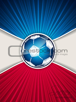 Abstract blue red soccer brochure with scribbled ball