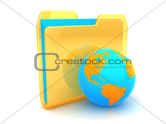 folder and earth