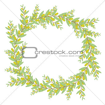 Olive wreath. Isolated vector illustration on white background.