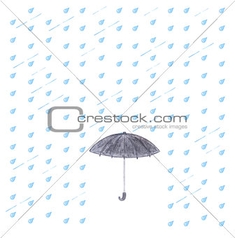 Watercolor rain and umbrella.