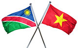 Namibia flag with Vietnam flag, 3D rendering