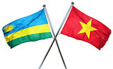 Rwanda flag with Vietnam flag, 3D rendering