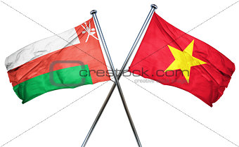 Oman flag with Vietnam flag, 3D rendering