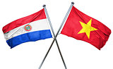 Paraguay flag with Vietnam flag, 3D rendering
