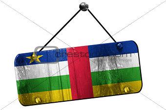 Central african republic flag, 3D rendering, vintage grunge hang