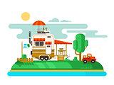 Vacation trailer flat design