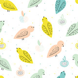 Vector seamless pattern with birds and fruits