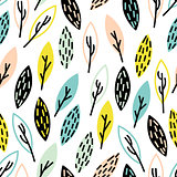 Vector seamless, hand drown leaf pattern