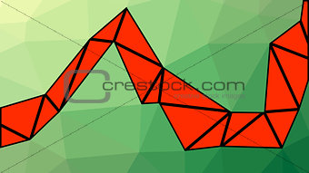 Abstract green and red gradient lowploly of many triangles background for use in design