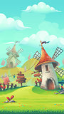 Cartoon landscape with a windmill