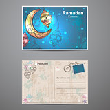Ramadan Kareem lamps and crescent moon postcard