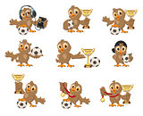 Set owl bird soccer. Win in football championship. Sports Cup and medal