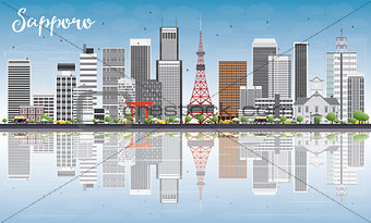 Sapporo Skyline with Gray Buildings, Blue Sky and Reflections.