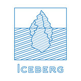 Iceberg in linear style. Outline iceberg isolated on white backg