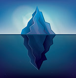 Iceberg on Blue Background. Vector Illustration.